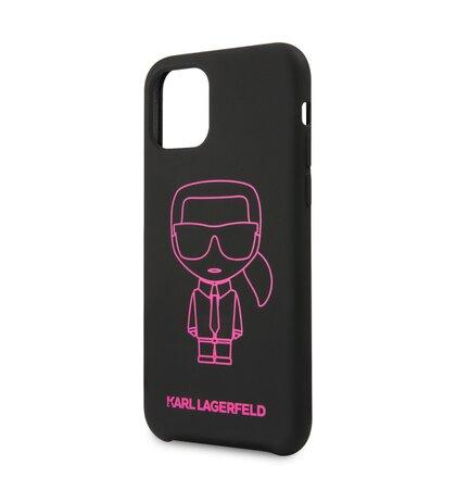 KLHCN61SILFLPBK Karl Lagerfeld Silikonový Kryt pro iPhone 11 Pink Out Black (EU Blister)
