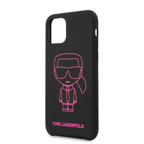 Puzdro Karl Lagerfeld pre iPhone 11 Pro KLHCN58SILFLPBK silikónové, čierne