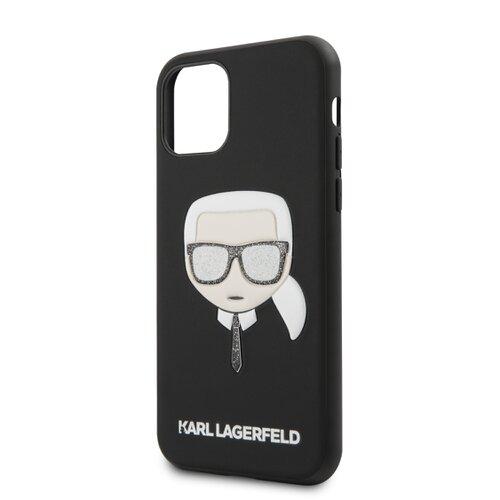 Puzdro Karl Lagerfeld pre iPhone 11 KLHCN61GLBK silikónové, čierne