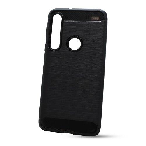 Puzdro Carbon Lux TPU Motorola One Macro - čierne