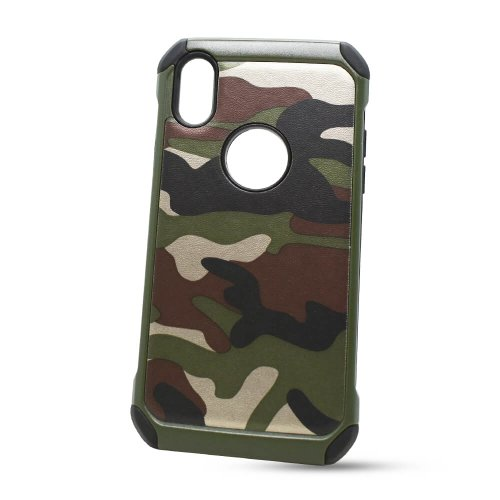 Puzdro Camouflage Army TPU Hard iPhone X/XS - zelené