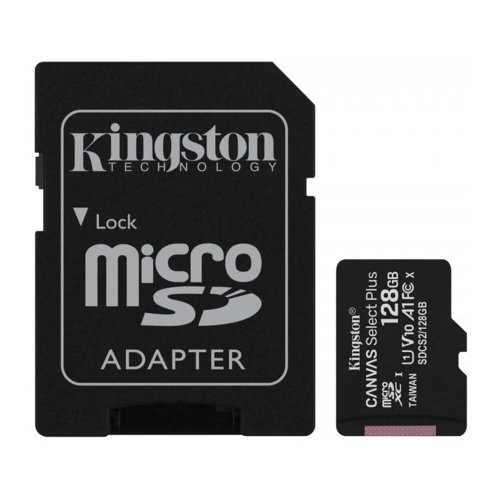 KINGSTON microSDXC karta 128GB Canvas Select Plus Class 10 (r/w 100MB/s) + adaptér