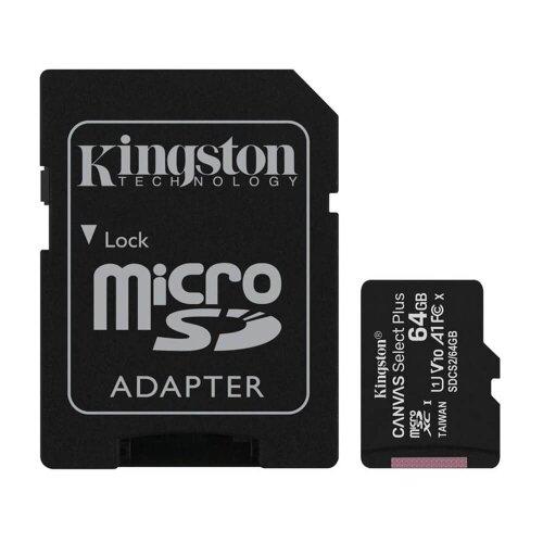 MicroSDXC karta KINGSTON 64GB Canvas Select Plus Class 10 (r/w 100/10MB/s) + adaptér
