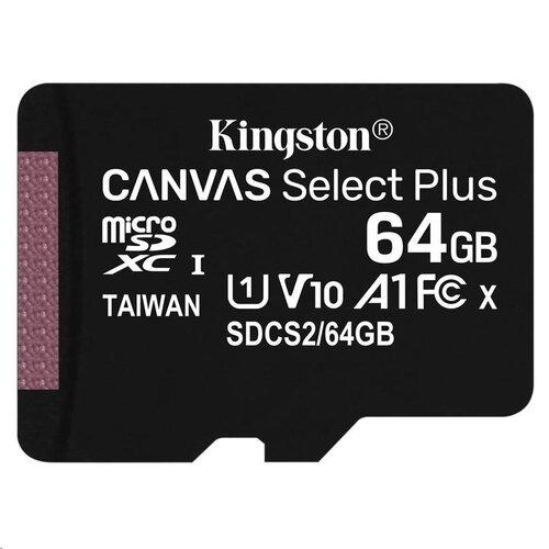 MicroSDXC karta KINGSTON 64GB Canvas Select Plus Class 10 (r/w 100MB/s) (bez adaptéra)