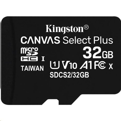 MicroSDHC karta KINGSTON 32GB Canvas Select Plus Class 10 (r/w 100MB/s) (bez adaptéra)