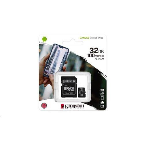 MicroSDHC karta KINGSTON 32GB Canvas Select Plus Class 10 (r/w 100/10 MB/s) + adaptér