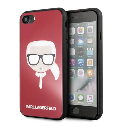 Puzdro Karl Lagerfeld Iconic Glitter KLHCI8DLHRE iPhone 7/8 - červené
