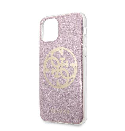 GUHCN58PCUGLPI Guess 4G Glitter Circle Zadní Kryt pro iPhone 11 Pro Pink (EU Blister)