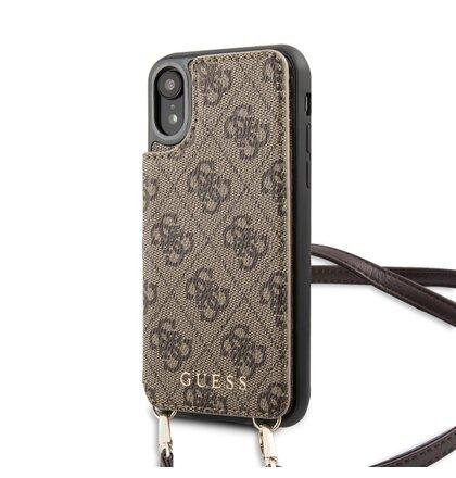 GUHCI61CB4GB Guess 4G Crossbody Cardslot Kryt pro iPhone XR Brown