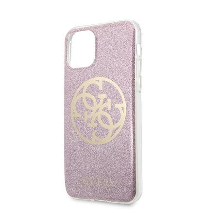 GUHCN61PCUGLPI Guess 4G Glitter Circle Zadní Kryt pro iPhone 11 Pink (EU Blister)