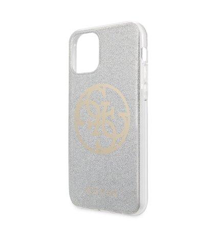 GUHCN61PCUGLLG Guess 4G Glitter Circle Zadní Kryt pro iPhone 11 Light Grey (EU Blister)