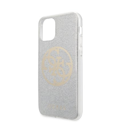 GUHCN58PCUGLLG Guess 4G Glitter Circle Zadní Kryt pro iPhone 11 Pro Light Grey (EU Blister)