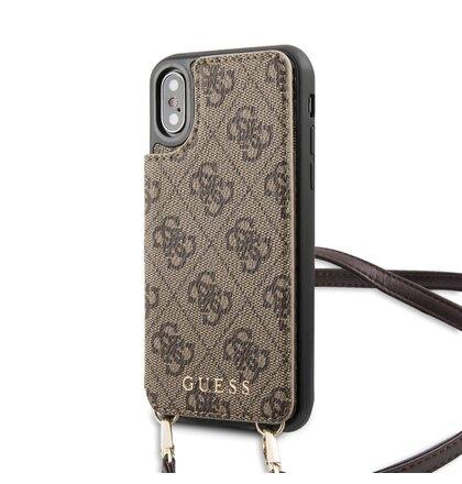 GUHCPXCB4GB Guess 4G Crossbody Cardslot Kryt pro iPhone X/XS Brown