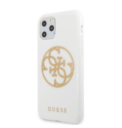 GUHCN65TPUWHGLG Guess 4G Glitter Circle Zadní Kryt pro iPhone 11 Pro Max White Gold (EU Blister)
