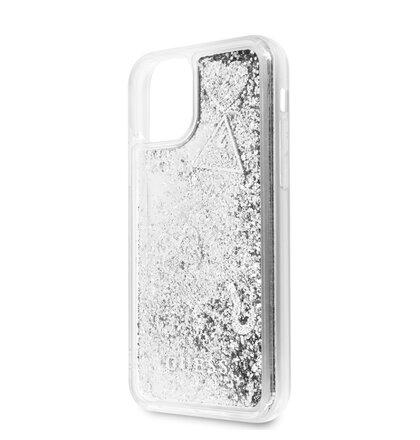 GUHCN58GLHFLSI Guess Glitter Hearts Zadní Kryt pro iPhone 11 Pro Silver (EU Blister)