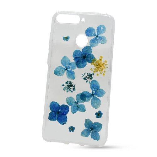 Puzdro NoName Real Flowers TPU (skutočné kvety) Huawei Y6 Prime 2018/Honor 7A vzor 7 - modré