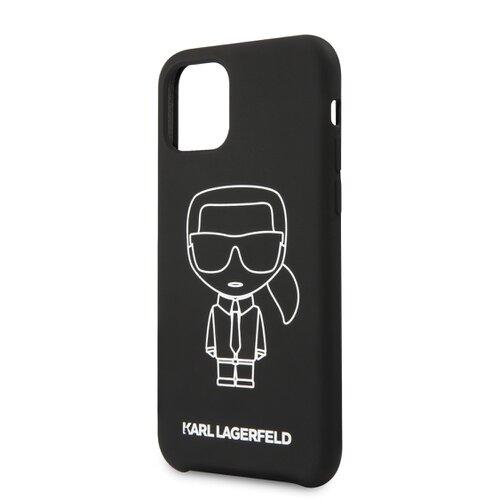 Puzdro Karl Lagerfeld pre iPhone 11 KLHCN61SILFLWBK silikónové, čierne