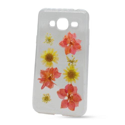 Puzdro NoName Real Flowers TPU (skutočné kvety) Samsung Galaxy J3 J320 2016 vzor 8 - ružovo-biele
