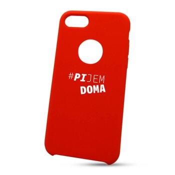 "Puzdro na Apple iPhone 7/8 ""pijem doma"" - červené (s výrezom na logo)"