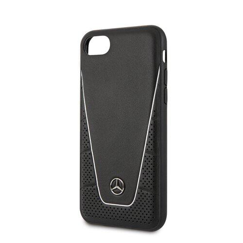 MEHCI8CLSSI Mercedes Quilted Kožený Kryt pro iPhone 8/SE2020 Black