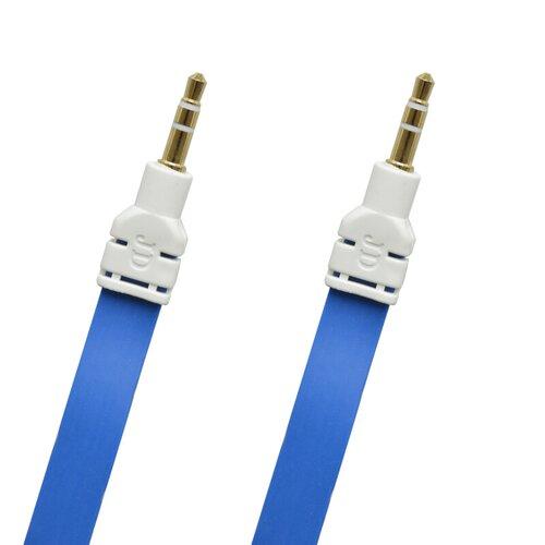 Kábel AUX 2x3.5mm jack 3m Modrý plochý (ECO balenie)
