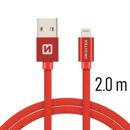 Dátový kábel Swissten Lightning (8pin) 2m Červený opletený