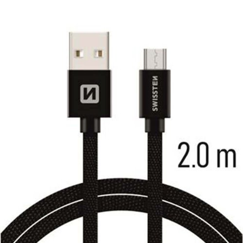 Dátový kábel Swissten MicroUSB Quick Charge 3A 2m Čierny opletený