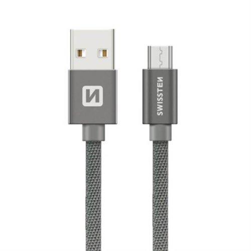 Dátový kábel Swissten MicroUSB 0.2m Sivý opletený