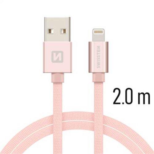 Dátový kábel Swissten Lightning (8pin) 2m Ružovozlatý opletený