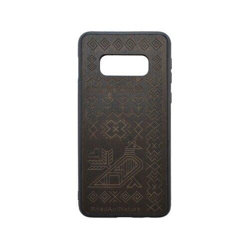 Puzdro Totem Samsung Galaxy S10e tmavohnedé, drevený povrch
