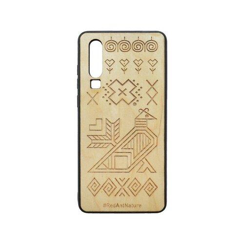 Puzdro Čičmany Huawei P30 svetlohnedé, drevený povrch