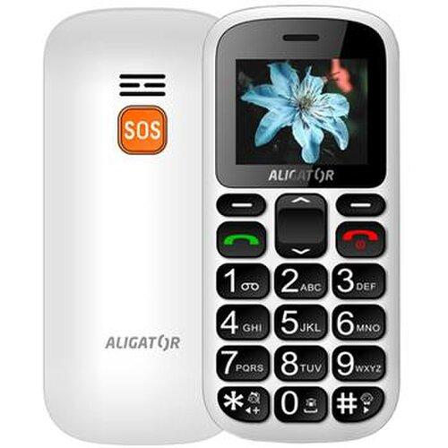 Aligator A321 Senior Dual SIM, Biely + stolná nabíjačka - porušené balenie