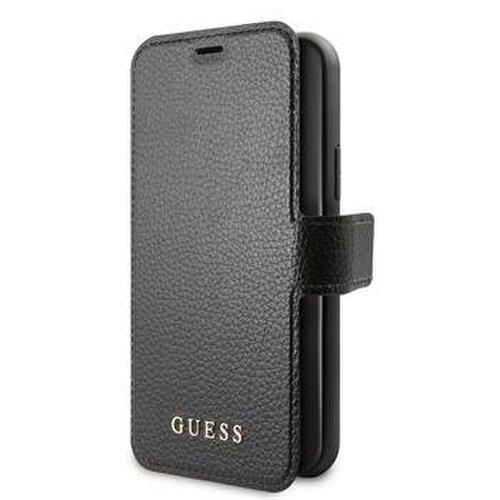 Puzdro Guess pre iPhone 12/12 Pro (6.1) GUFLBKSP12MIGLBK knižkové, čierne