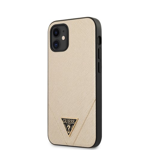 Puzdro Guess pre iPhone 12 Mini (5.4) GUHCP12SVSATMLLG silikónové, zlaté