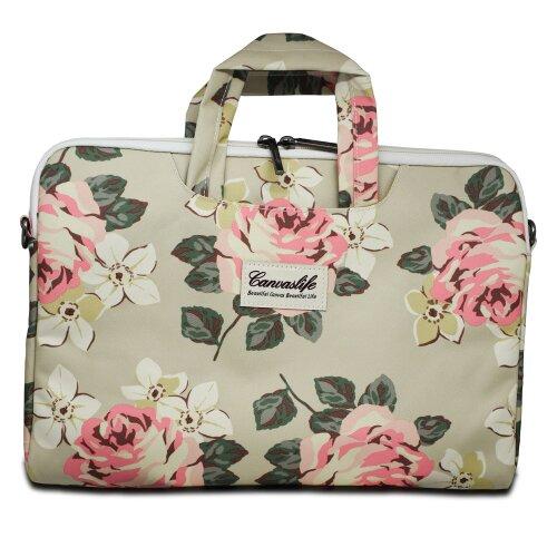 "Taška CanvasLife Briefcase pre Notebook 13""-14"", Univerzálna - white rose"