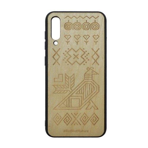 Puzdro Totem Samsung Galaxy A50 tmavohnedé, drevený povrch