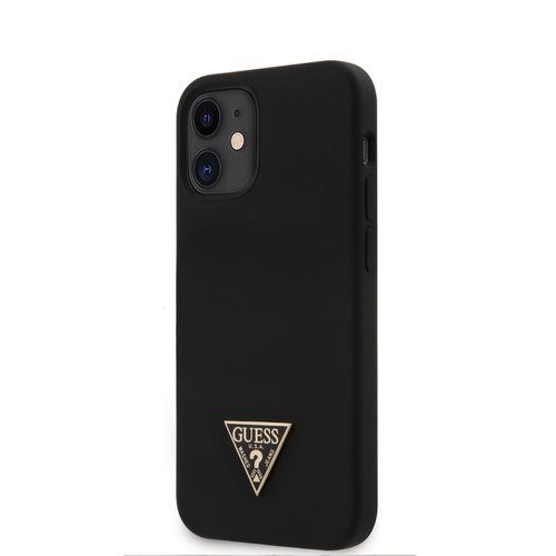 Puzdro Guess pre iPhone 12 Mini (5.4) GUHCP12SLSTMBK silikónové, čierne