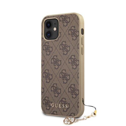 Puzdro Guess pre iPhone 12 Mini (5.4) GUHCP12SGF4GBR silikónové, hnedé