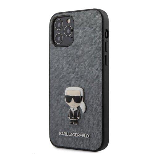 Puzdro Karl Lagerfeld pre iPhone 12/12 Pro (6.1) KLHCP12MIKMSSL silikónové, strieborné