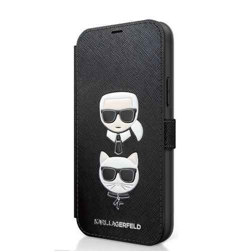 KLFLBKP12MSAKICKCBK Karl Lagerfeld Saffiano K&C Heads Book Pouzdro pro iPhone 12/12 Pro 6.1 Black