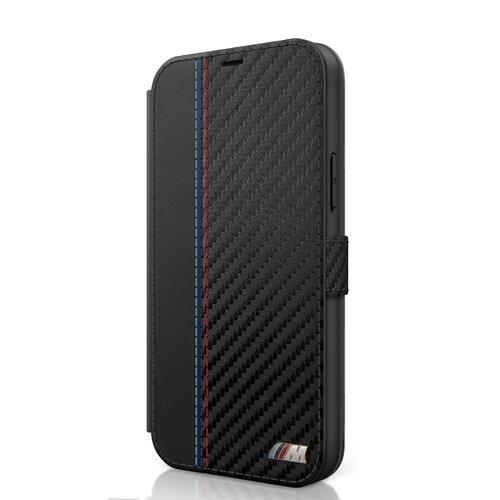 BMFLBKP12LMCARBK BMW PU Carbon Contrast Book Pouzdro pro iPhone 12 Pro Max 6.7 Black