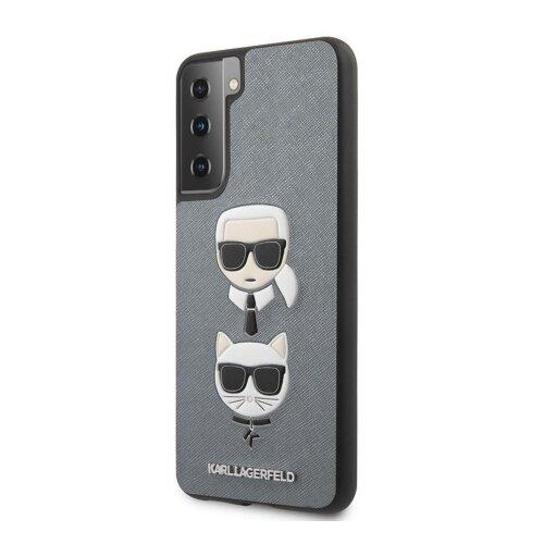 KLHCS21SSAKICKCSL Karl Lagerfeld Saffiano K&C Heads Kryt pro Samsung Galaxy S21 Silver