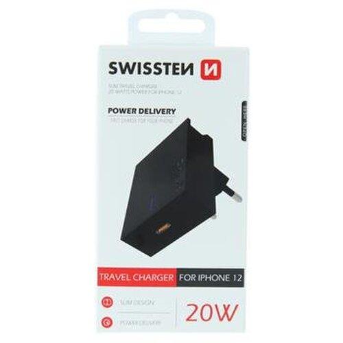 Nabíjací adaptér Swissten Power Delivery 20W pre iPhone 12 USB-C Čierny