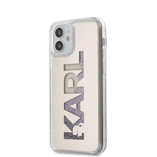 Puzdro Karl Lagerfeld pre iPhone 12 Mini (5.4) KLHCP12SKLMLGR silikónové, strieborné