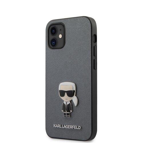 Puzdro Karl Lagerfeld pre iPhone 12 Mini (5.4) KLHCP12SIKMSSL silikónové, strieborné