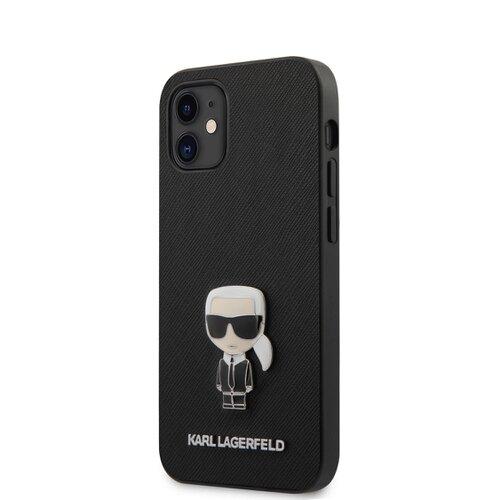 Puzdro Karl Lagerfeld pre iPhone 12 Mini (5.4) KLHCP12SIKMSBK silikónové, čierne