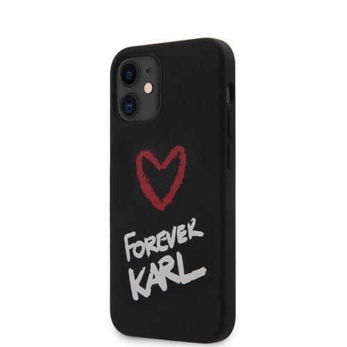 Puzdro Karl Lagerfeld pre iPhone 12 Mini (5.4) KLHCP12SSILKRBK silikónové, čierne