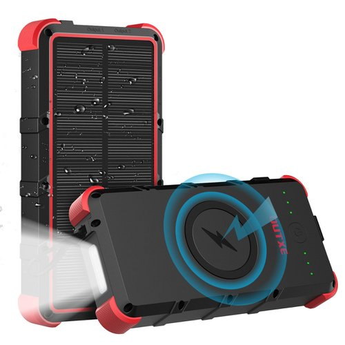 Odolná solárna bezdrôtová Power Banka OUTXE IP67 Type-C/MicroUSB QuickCharge 25000mAh Čierno-červená