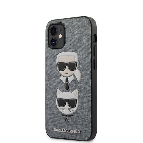 Puzdro Karl Lagerfeld pre iPhone 12 Mini (5.4) KLHCP12SSAKICKCSL silikónové, strieborné