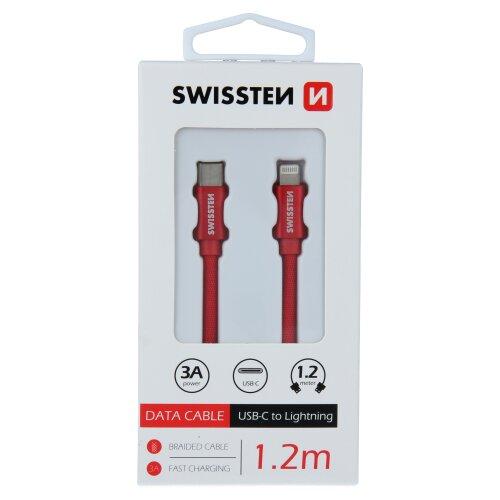 Dátový kábel Swissten USB-C/Lightning 1.2m Červený opletený